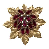 Joseff of Hollywood Brooch Pin Cranberry Red Rhinestones Leaf Cluster 1940s Vintage