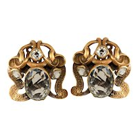 Joseff of Hollywood LARGE Art Nouveau Style Earrings with Rhinestones