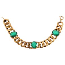 Joseff of Hollywood Bracelet Green Rhinestones Links