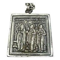 Joseff of Hollywood Necklace Silver Tone Three Men Motif Pendant Wise Saints Vintage
