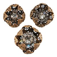 Joseff of Hollywood Set Flower Pods Clear Rhinestones Vintage
