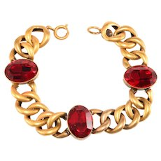 Joseff of Hollywood Bracelet Red Rhinestones Links