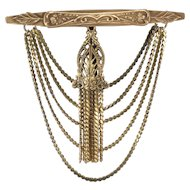 Joseff of Hollywood LARGE Tassel and Chain Brooch