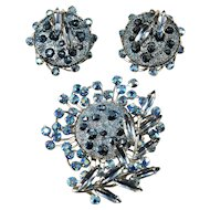 Judy Lee Blue Rhinestone Brooch and Earrings Set Vintage
