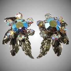 Judy Lee Gray Iridescent Earrings with Leaf Stones Unmarked