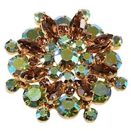 Juliana DeLizza Elster Aurora Borealis Green Brown Rhinestones Brooch Pin