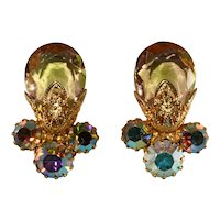 Juliana Earrings Filigree Iridescent Aurora Borealis Rhinestones Vintage