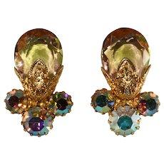 Juliana Earrings Filigree Iridescent Aurora Borealis Rhinestones Vintage