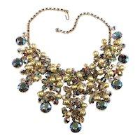 Juliana HUGE Bib Necklace Iridescent Rhinestones Gold Textured Dangles Beads Vintage