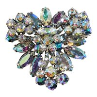 Juliana Brooch Blue Iridescent Rhinestones Pin Vintage DeLizza & Elster D&E