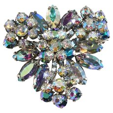 Juliana Brooch Blue Iridescent Rhinestones Pin Vintage DeLizza & Elster D&E