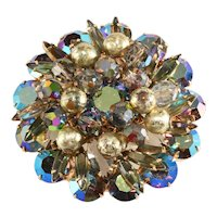 Juliana Brooch Blue Iridescent Gray Rhinestones Dangles Pin Vintage DeLizza & Elster D&E