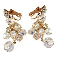 Juliana Earrings Clear Rhinestones Crystal Beads Dangles Vintage