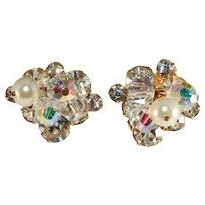 Juliana Earrings Clear Rhinestones Faux Pearls Crystal Beads Dangles Vintage
