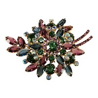 Juliana Brooch LARGE Purple Green Blue Rhinestones Vintage