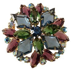 Juliana Jewel Tone Blue Purple Green Rhinestone Brooch Pin Vintage