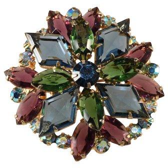 Juliana Jewel Tone Blue Purple Green Rhinestone Brooch Pin Vintage