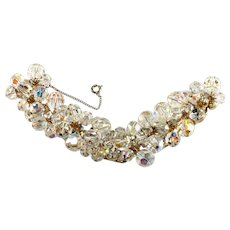 Juliana Bracelet Crystal Dangle Beads Iridescent Rhinestones Vintage