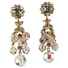 Juliana Crystal Beads & Rhinestone Dangle Earrings Vintage