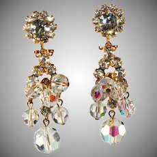 Juliana Crystal Beads & Rhinestone Dangle Earrings Vintage
