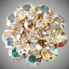 Juliana Brooch Pin Iridescent Crystal Dangles Vintage