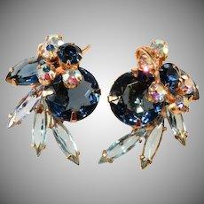 Juliana Wire Over Blue Rhinestone Earrings