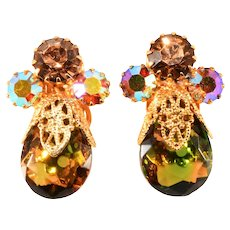 Juliana Filigree Teardrop Amber and Green Rhinestone Earrings