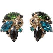 Juliana Filigree Ball Green Blue Black Rhinestone Earrings