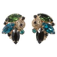 Juliana Filigree Ball Green Blue Black Rhinestone Earrings