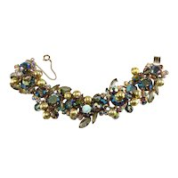 Juliana Bracelet Gold Colored Dangle Balls Iridescent Rhinestones Vintage