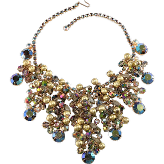 Juliana Bib Necklace Iridescent Rhinestones Gold Textured Dangles Beads Vintage