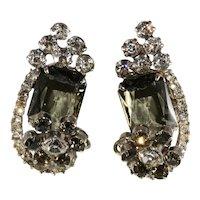 Juliana Earrings Gray Clear Rhinestones Vintage