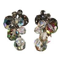 Juliana Earrings Gray Rhinestones Crystal Iridescent Beads Dangles Vintage