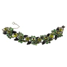 Juliana Green and Black Rhinestone Bracelet 1960s Vintage