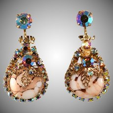 Juliana Dangle Earrings Marble and Iridescent Rhinestones Vintage