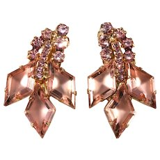 Juliana DeLizza Elster Pink Rhinestone Earrings Vintage