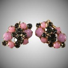 Juliana Pink and Gray Rhinestone Earrings DeLizza & Elster Vintage