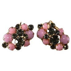 Juliana Pink and Gray Rhinestone Earrings DeLizza & Elster Vintage
