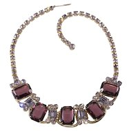 Juliana DeLizza Elster Purple Rhinestone Necklace Vintage
