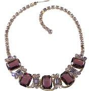 Juliana DeLizza Elster Purple Rhinestone Necklace Vintage