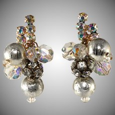 Juliana Earrings Silver and Rhinestone Balls Dangles
