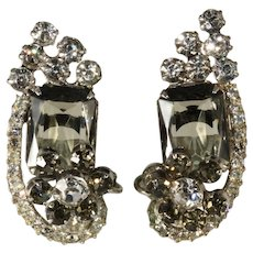 Juliana DeLizza Elster Smoke Gray Black Diamond Rhinestone Earrings Vintage
