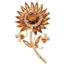 Juliana Flower Brooch Pin Brown Amber Rhinestones Sunflower Vintage