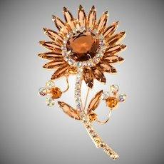 Juliana Flower Brooch Pin Brown Amber Rhinestones Sunflower Vintage