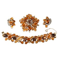 Juliana Topaz Givre Rhinestone Bracelet Brooch Earrings Parure Set