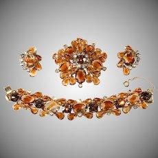Juliana Topaz Givre Rhinestone Bracelet Brooch Earrings Parure Set