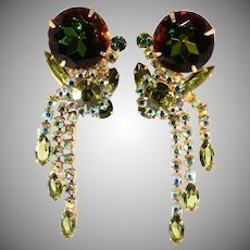 Juliana DeLizza and Elster Green Watermelon Dangle Earrings Vintage