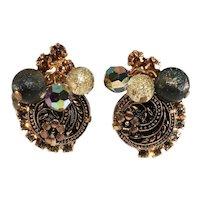 Juliana Earrings Wheat and Flower Dangles Beads Vintage DeLizza & Elster