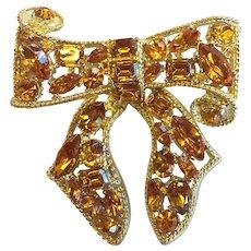 KJL Bow Brooch Pin Amber Rhinestones Gold Plated