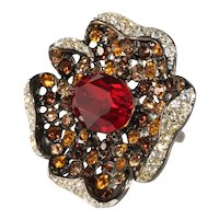 K.J.L. Cocktail Ring Flower Red Amber Clear Rhinestones KJL Kenneth Jay Lane Small Size